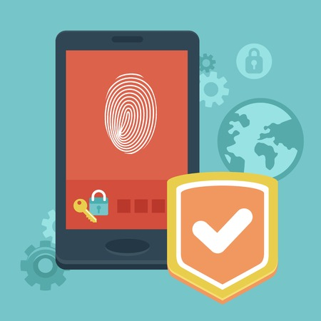 Vector mobile phone security - concept with icons in flat style - data protection and user identification
