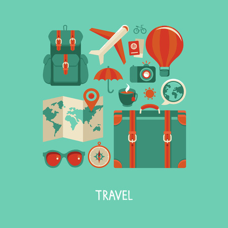 Illustration pour Vector icons and concepts in flat style - travel and vacation, Trendy banners and signs - summer and journey - image libre de droit