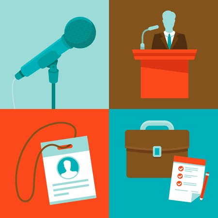 Vector conferenc? concepts in flat style - set of icons - microphone, speaker, badge and briefcase