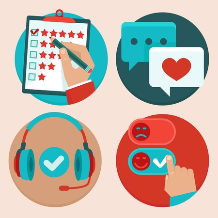 Illustration pour set of customer service in flat style - feedback, survey and support - image libre de droit