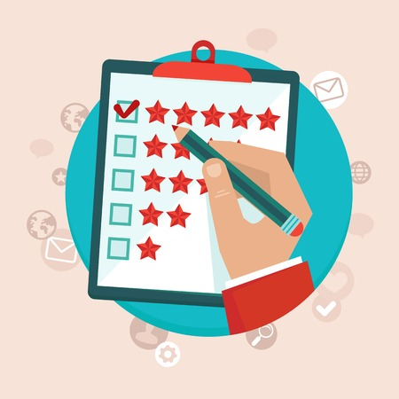 customer feedback concept in flat style - hand checking excellent mark in a survey