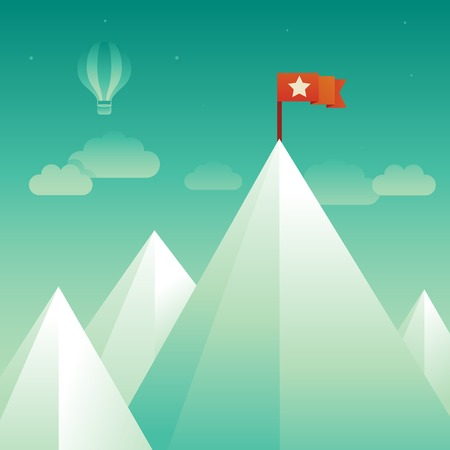 Vector victory concept in flat style - abstract mountain peak with red flag