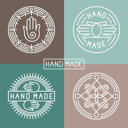 hand made label in outline trendy style - hands icon and text