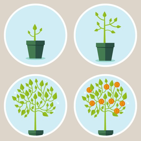 growth concept - infographic in flat style - abstract process of growing green tree with coins