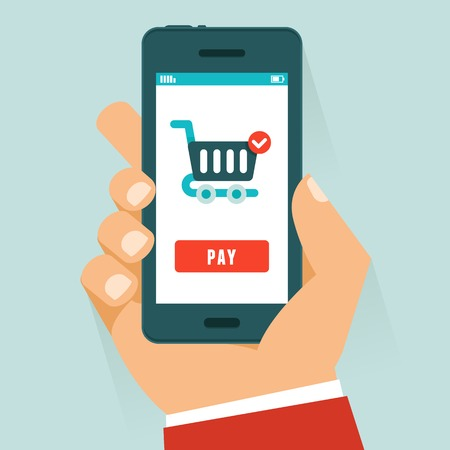 mobile payment concept in flat style - human hand holding mobile phone with shopping cart and pay button on the screen
