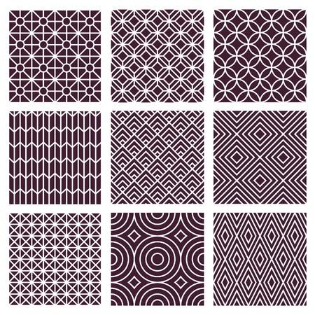 Ilustración de Vector seamless patterns set in trendy mono line style - 9 minimal and geometric textures - Imagen libre de derechos