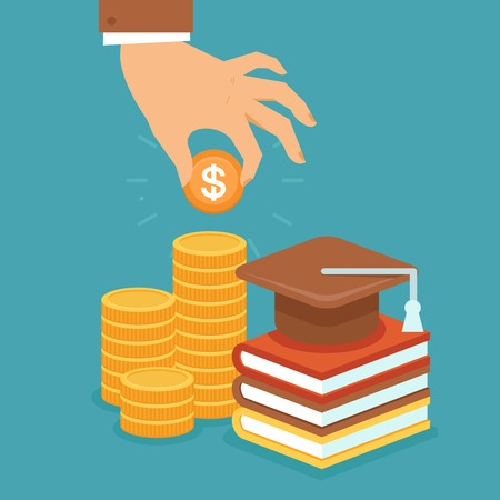 Vector invest in education concept in flat style - stack of coins and book with university hat