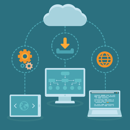 Illustration pour Vector SaaS concept in flat style - software as a service business model - cloud computing - image libre de droit