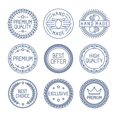 Illustration pour Vector set of premium labels and badges in line style - handmade, best choice and high quality - image libre de droit