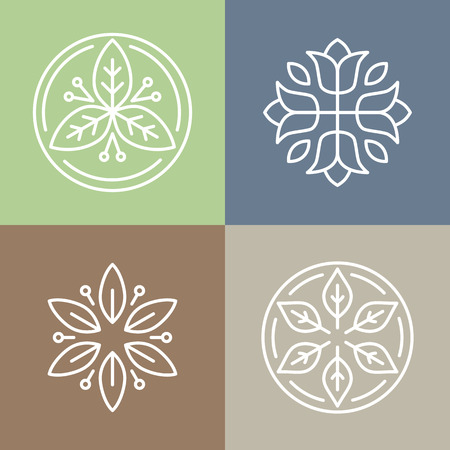 Illustration for Vector floral icons and logo design templates in outline style - abstract monograms and emblems - Royalty Free Image