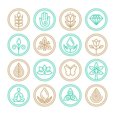 Illustration for Vector organic line icons - design elements for spa, yoga and cosmetics - Royalty Free Image