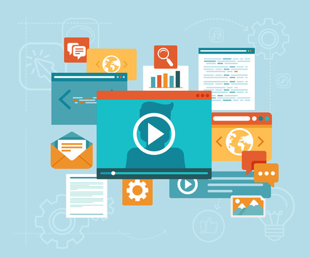 Vector e-learning concept in flat style - digital content and online webinar icons