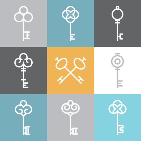 Vector key icons and signs in linear style - abstract design elements