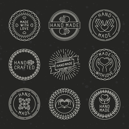 Vector set of linear badges and logo design elements - hand made, made with love and handcrafted