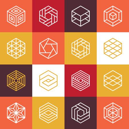 Ilustración de Vector linear hexagon and design elements - abstract icons for different business and technologies - Imagen libre de derechos
