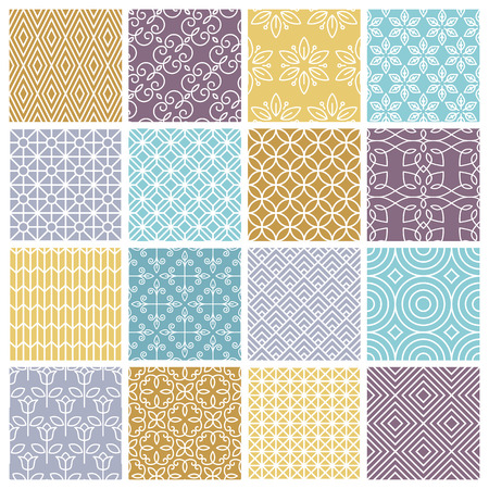 Illustration for Vector seamless patterns set in trendy mono line style - 16 minimal and geometric textures - Royalty Free Image