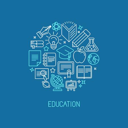 Illustration pour Vector linear logo design template - online education and university concept in trendy outline style - image libre de droit