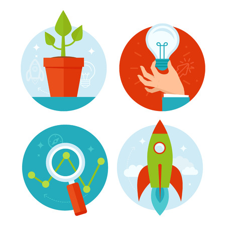Vector personal development and business growth concepts in flat style - infographic design elements and icons