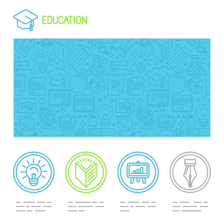 vector educational design template in trendy mono line style