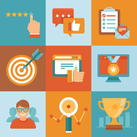 Vector flat customer service concepts - icons and infographic design elements - client experience and top ranking