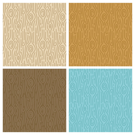 Vector wooden seamless patterns in trendy mono line style - abstract backgrounds