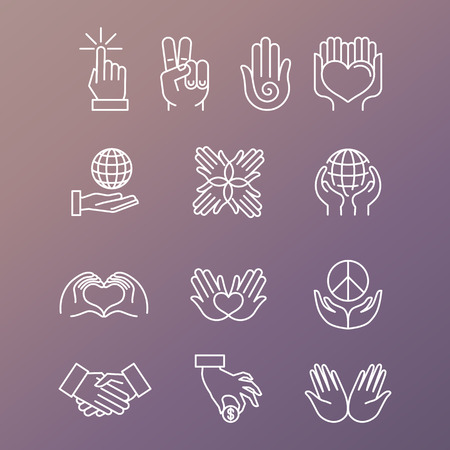 Illustration pour Vector set of linear hand icons and gestures - hands and fingers - image libre de droit