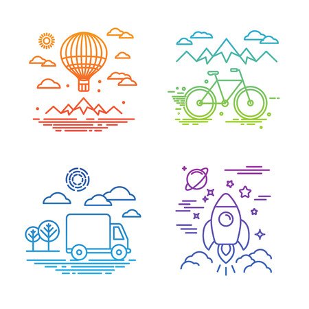 Vector travel and transportation concepts in trendy linear style - air balloon, bicycle, car and space ship