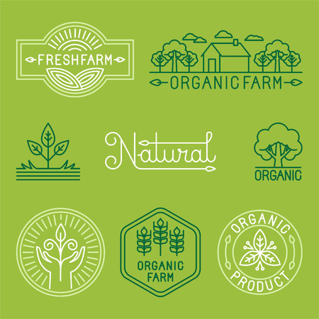 Vector agriculture and organic farm line logos - set of design elements and badges for food industryのイラスト素材