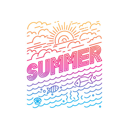 Vector summer poster and banner design in trendy linear style - lettering and icons