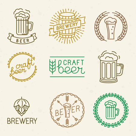 Vector craft beer and brewery logos and signs in trendy linear style - mono line badges and emblems with text and lettering for beer houses,  pubs and  brewing companies