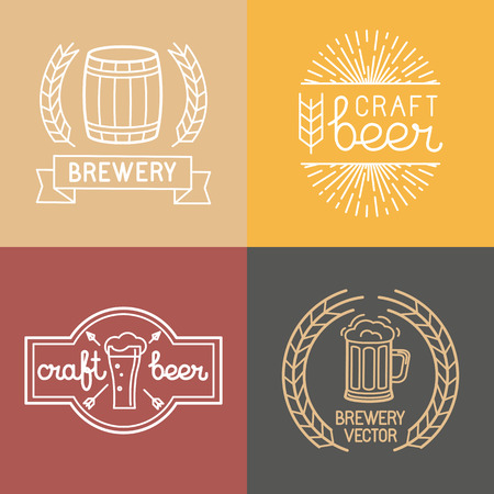 Illustration pour Vector craft beer and brewery logos and labels in linear style - mono line badges and emblems with text and lettering for bars and  brewing companies - image libre de droit