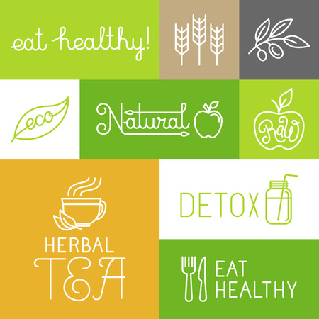 Illustration for Vector healthy and fresh farm products labels and icons in trendy linear style - eat healthy and natural concepts - Royalty Free Image
