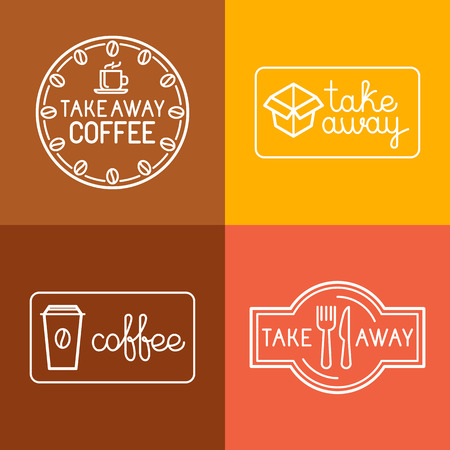 Illustration pour Vector set of linear labels and logo design elements for take away food and coffee to go - mono line icons and badges for cafes and catering - image libre de droit