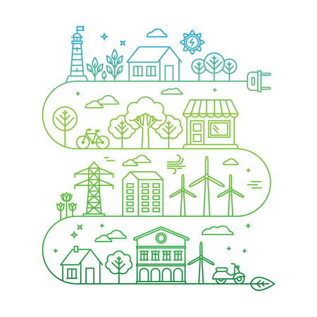 Illustration pour Vector concept and infographic design elements in trendy linear style - city illustration concept with alternative energy generators - nature conservation and protection with modern innovation and technologies - image libre de droit