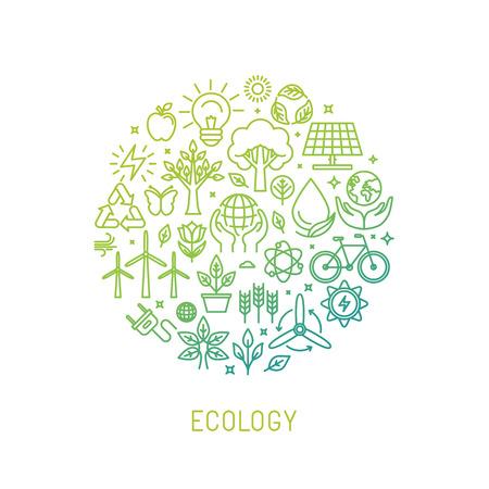 Ilustración de ecology illustration with icons and signs in linear style - Imagen libre de derechos