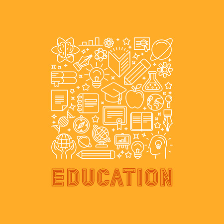 Illustration pour Vector education concept in trendy linear style - e-learning and science icons and signs with lettering - image libre de droit