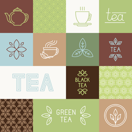 Vector tea package design elements in trendy mono line style - linears, hand-lettering, seamless patterns and icons
