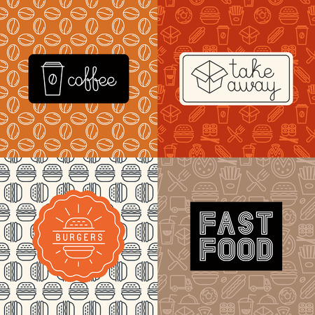 Illustration pour Vector linear icons and logo design elements in trendy mono line style - take away and fast food, burgers and coffee to-go - image libre de droit