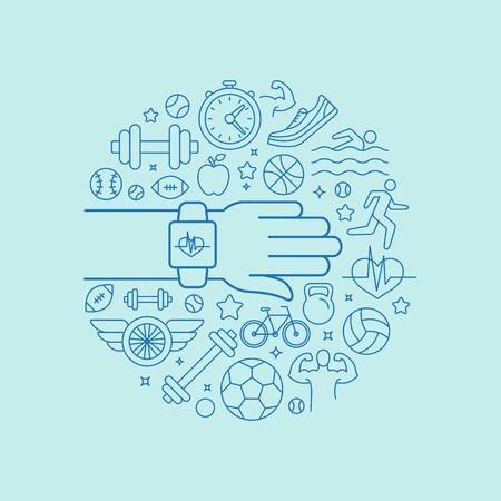 Ilustración de Vector fitness app and tracker on the wrist - sport illustration in flat style with linear icons - Imagen libre de derechos