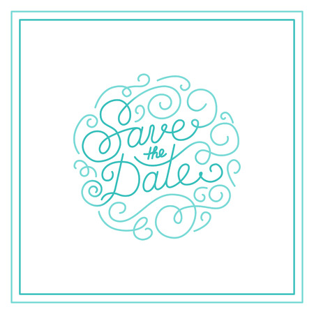Vector save the date card design template with hand-lettering and text - wedding invitation design element in trendy linear style