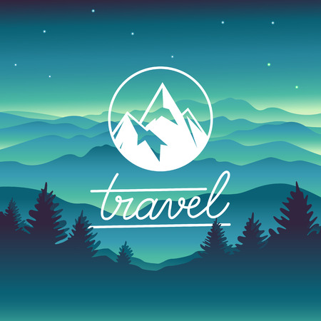 Illustration pour Vector travel concept and logo design element - mountain landscape in siple style and circle badge with summit - image libre de droit