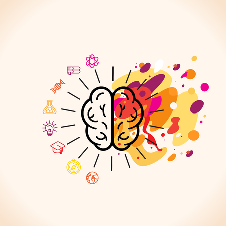 Illustration pour Vector illustration in flat linear style - left and right brain hemispheres - analytical and creative thinking - image libre de droit