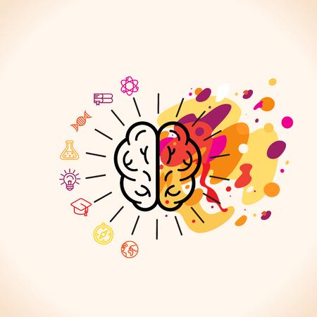 Ilustración de Vector illustration in flat linear style - left and right brain hemispheres - analytical and creative thinking - Imagen libre de derechos