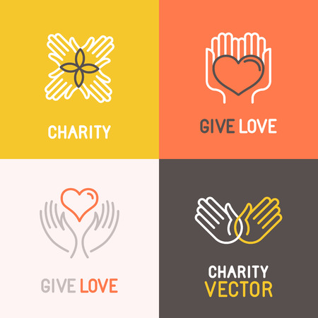 Illustration pour Vector charity and volunteer concepts and logo design elements in trendy linear style - emblems and signs for nonprofit and philanthropic organizations and centers - image libre de droit