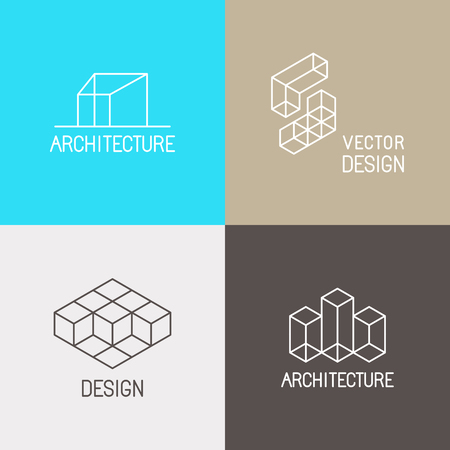 Illustration pour Vector set design templates in simple trendy linear style for architecture studios, interior and environmental designers - mono line icons and signs - image libre de droit