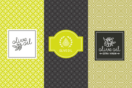 Illustration pour Vector packaging design elements and templates for olive oil labels and bottles - seamless patterns for background and stickers with logos and lettering - image libre de droit