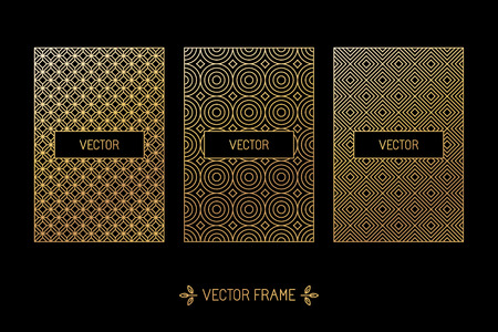 Vector set of design elements, labels and frames for packaging for luxury products in trendy linear style - simple and bright background made with golden foil on black background