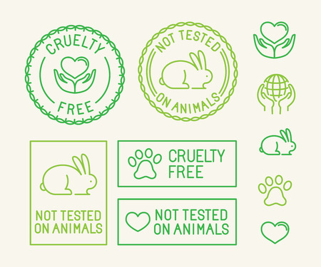 Photo pour Vector set of ecology badges and stamps for packaging - not tested on animals and cruelty free - icons in trendy linear style - image libre de droit