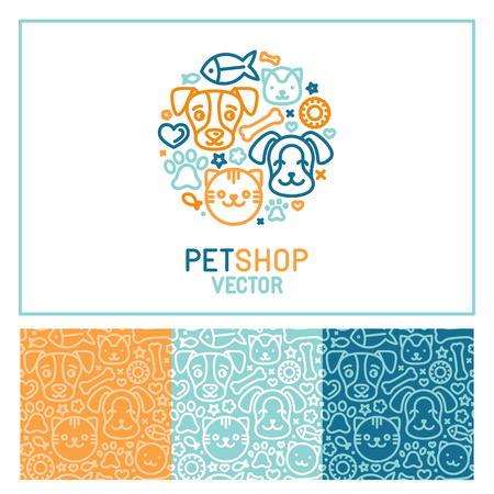 Photo pour Vector logo design template for pet shops, veterinary clinics and homeless animals shelters - circle made with mono line icons of cats and dogs - circle badge and seamless patterns for packaging - image libre de droit