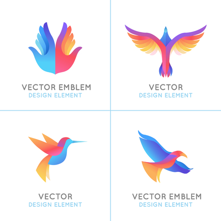 Vector set of abstract gradient emblems     design templates - birds and wings - freedom concepts and signs